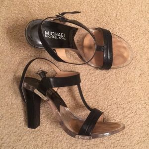 Michael Kors Patent Black Leather Strappy Heels